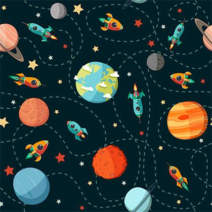 Susse Raketen Seamless Space Pattern Planets Rockets And Stars Cartoon Spaceships