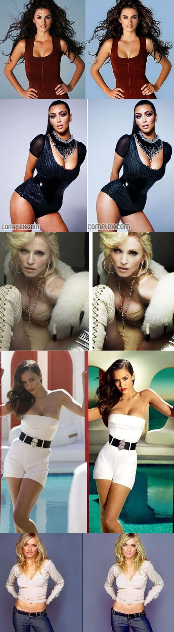 Celebrities before and after photoshop. Nobody's real anymore. Makes you feel a lot better! Haha