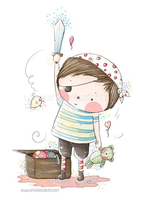 Children Illustration - Nursery - Little Cute Pirate Boy And His Teddy Bear Sword - A4