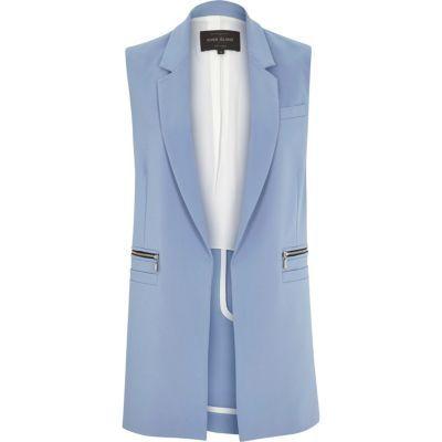 Light blue woven sleeveless jacket | sheerluxe.com