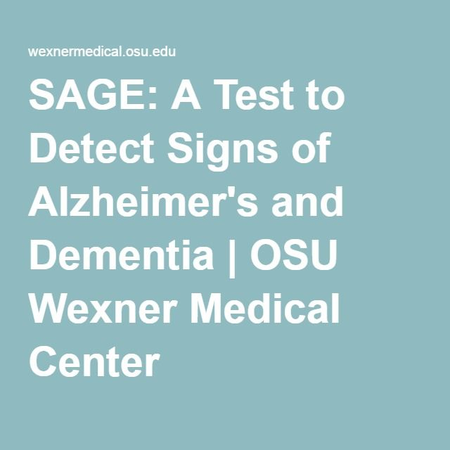 SAGE: A Test to Detect Signs of Alzheimer's and Dementia | OSU Wexner Medical Center