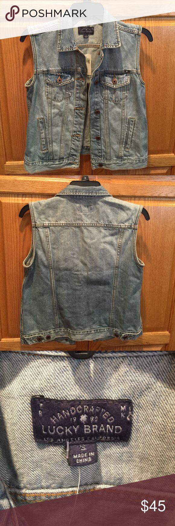 Lucky Brand Denim Jacket NWT sleeveless denim jacket, size small. Lucky Brand Jackets & Coats Vests
