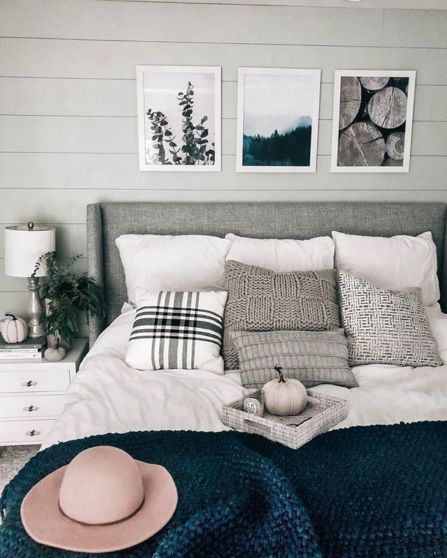 Muted Neutral Fall Bedroom Decor Decorating For Autumn Navy Green Grey White Prettyinthepi Green And White Bedroom Fall Bedroom Grey Headboard Bedroom Autumn touches in guest bedroom