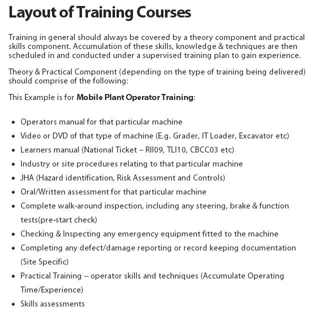 Layout of Training Courses