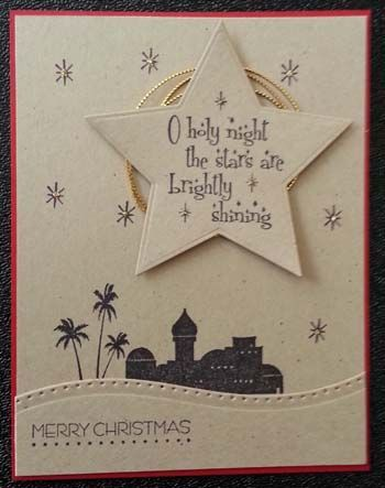 Handmade Christmas card by MorningStar samps.  Star die cut and dotted border die cut. All stamps by MorningStar.