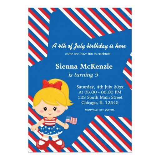 4th Of July Birthday Girl Card