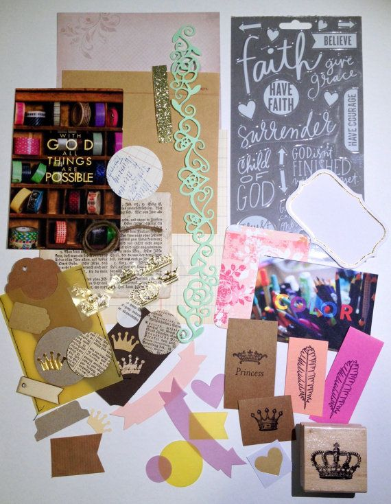 ***Bible Journaling Kit - I AM ROYAL***  This Kit is handpicked and handmade by me, Rebecca Sawatsky.  You can use this beautiful kit for your bible journaling, scrapbooking or to make cards...or any other beautiful things.  The I AM ROYAL kit contains:  1 wood stamp crown 1 old book page (150 years old) 1 sheet kraft paper 15x15 cm notes 1 sheet scrapbooking cardstock paper 15x15 cm (assorted designs and colors) 1 sheet vintage ledger paper 1 Bible Art Journaling Post Card (made and…