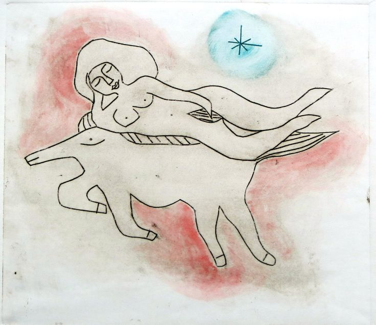 Original Fine Art Print, Drypoint Print, Etching of a naked woman on a horse, Sepia, red and turquaise, Hand Pulled in Limited Edition by BeatricePoggioArt on Etsy