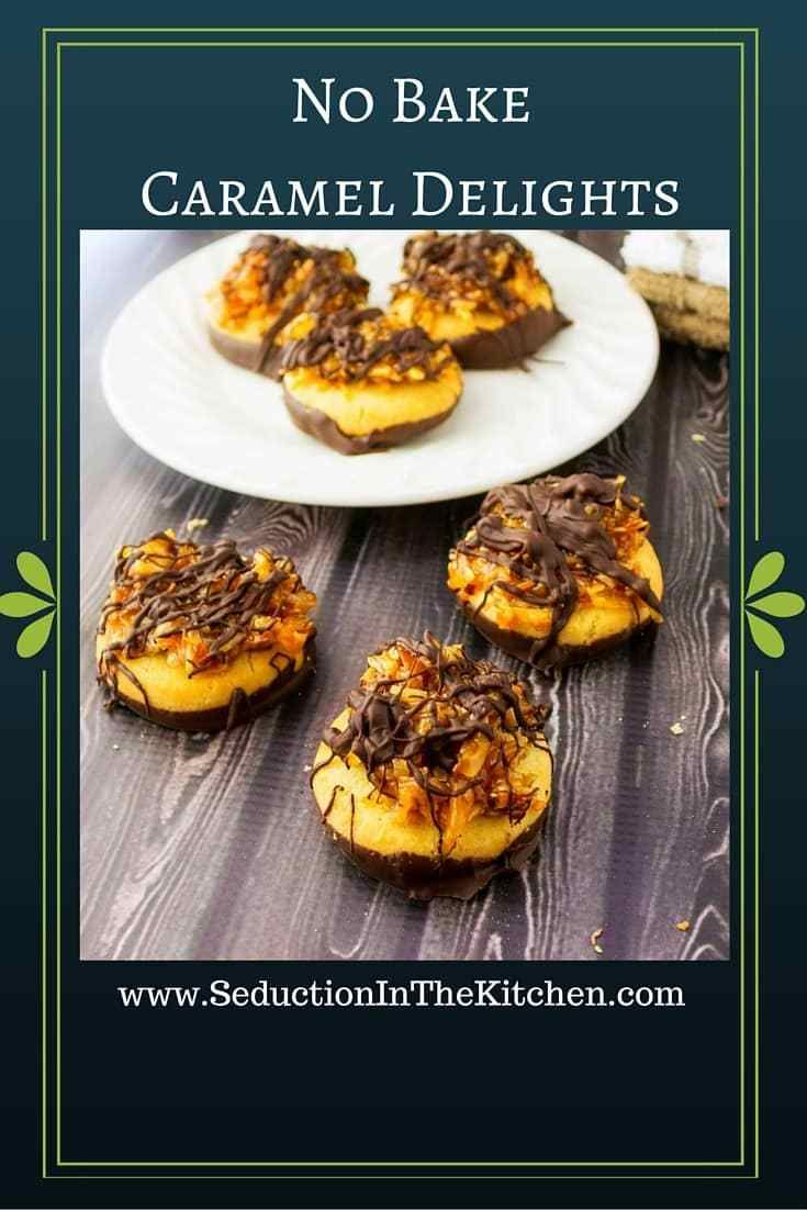 No bake caramel delights are inspired by Girl Scout cookies. These are easy and lots of fun to make. A recipe from Seduction in the Kitchen.