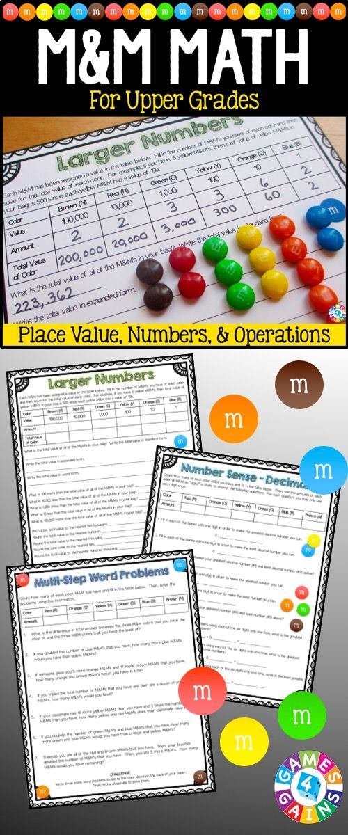 Just in time for Halloween! This M&M's Math Project contains 20 pages of printable math activities to use with some yummy M&M's! Grab some bags of M&M's and get ready for your students to have tons of fun practicing number sense, place value, and operations! These work perfectly for small groups, centers, informal assessments, review, etc. Ideal for grades 4-6.