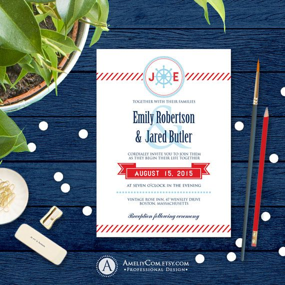 Nautical Invitation Printable Navy Blue & Red Beach by AmeliyCom https://www.etsy.com/listing/270966657/nautical-invitation-printable-navy-blue