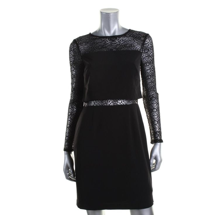 Aidan by Aidan Mattox Womens Popover Lace Inset Cocktail Dress