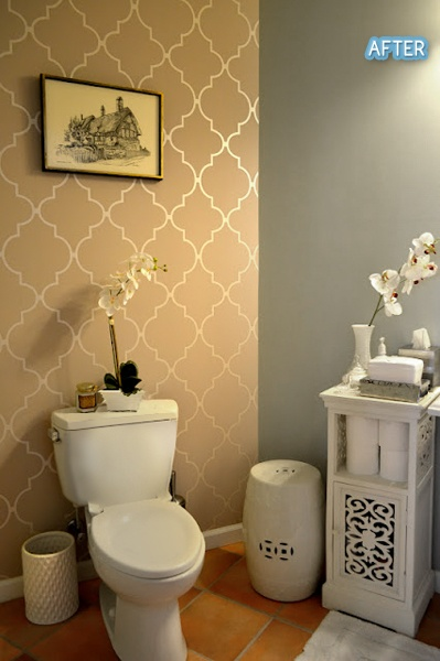 Love The Taupe Wallpaper And Grey Wall Combo · Wallpaper For BathroomsSmall  ...