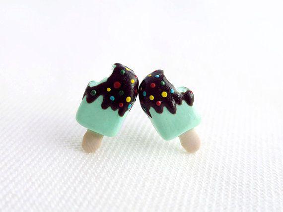 Sweet mint chocolate ice cream earring, cute ice cream earring, polymer clay food earring, ice cream jewellery, birthday gift, gift