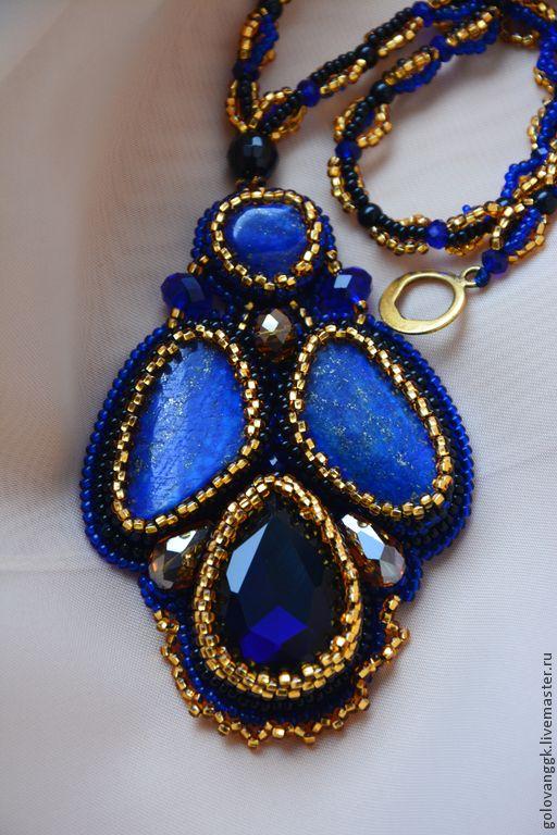 """Кулон """"Сердце океана"""" из бисера и камней.. Handmade."""