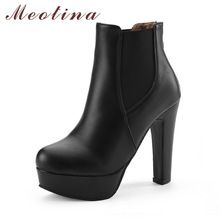 Meotina Women Boots Shoes Women High Heels Ankle Boots Winter Boots Zip Ladies Shoes Sexy Platform High Heels Big Size 44 10 11 //FREE Shipping Worldwide //