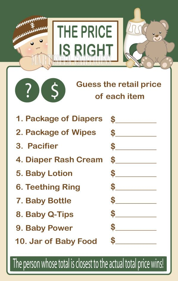 DIY Football Theme Baby Price Is Right Game  Sports Babyshower Games   Instant Download Green Printable