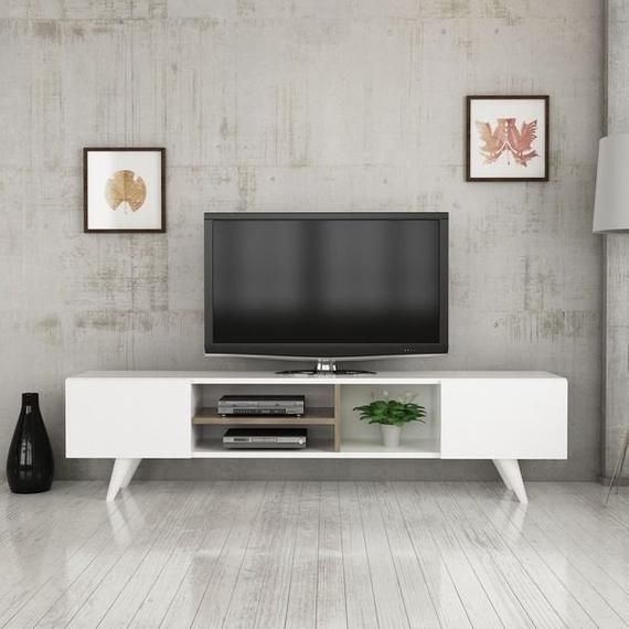 Dore Tv Stand Media Console Entertainment Table Wood Cabinet Tv Table White Entertainment Table Contemporary Tv Stands Living Room Tv #tv #table #for #living #room