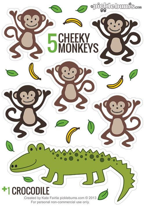 Printable Puppets - Five Cheeky Monkeys... and a Crocodile! - picklebums.com #kids #free #animal