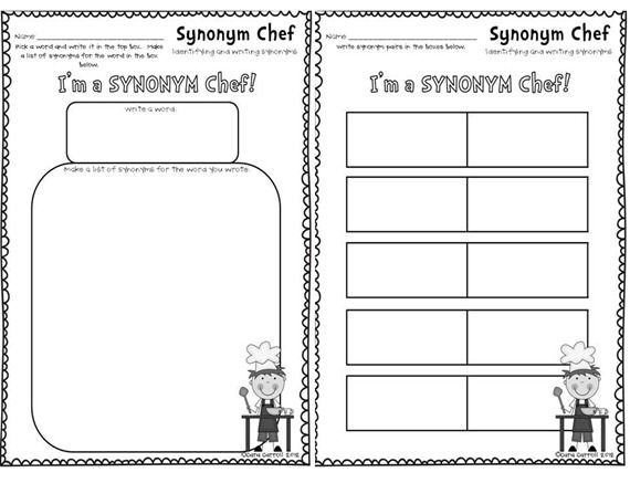 Kids choose to make synonym word pairs or a list of for Cuisine synonym