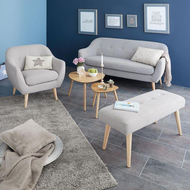 Upholstered Bench In Gray Color Retro Design Very Practical In All Your Rooms Bench Color Decoration Bej Oturma Odalari Kucuk Oturma Odalari Tasarim Oda