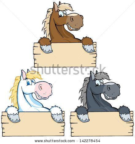 Set of Horses with Wood Sign. Vector Collection