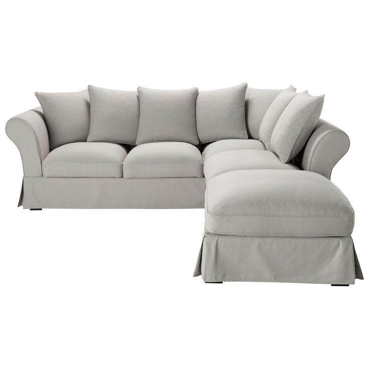 Ecksofa 6-Sitzer aus Baumwolle, grau  Roma