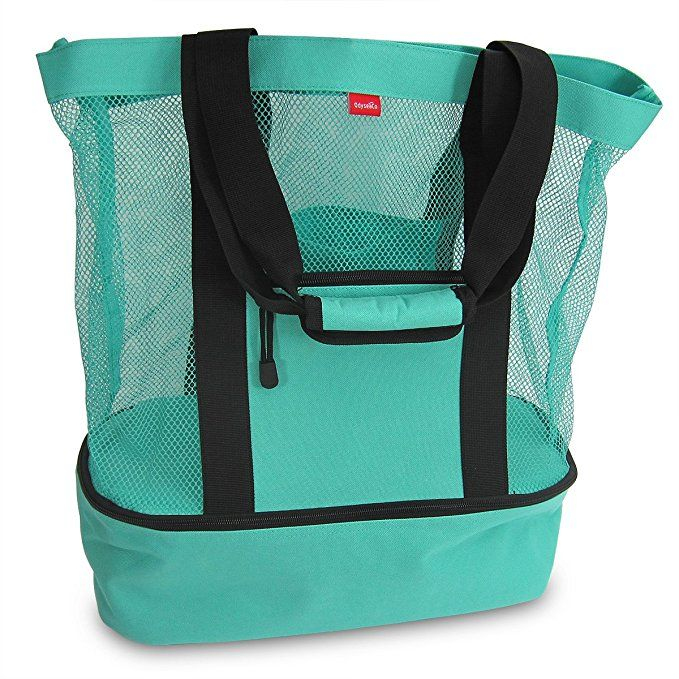 Aruba Mesh Beach Tote Bag with Insulated Picnic Cooler - Large