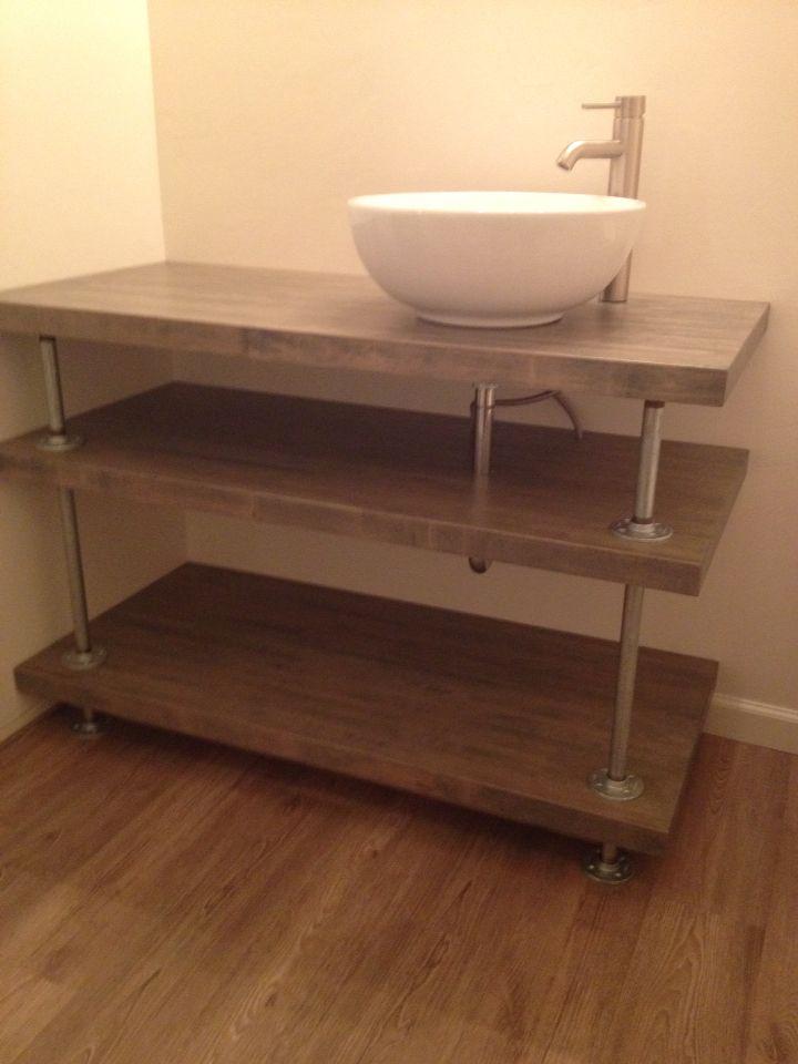 Butcher Block And Galvanized Pipe Bathroom Vanity Rustic