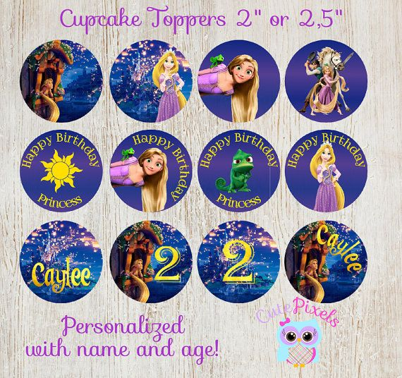 Tangled Cupcake Toppers Rapunzel Cupcake Toppers by CutePixels