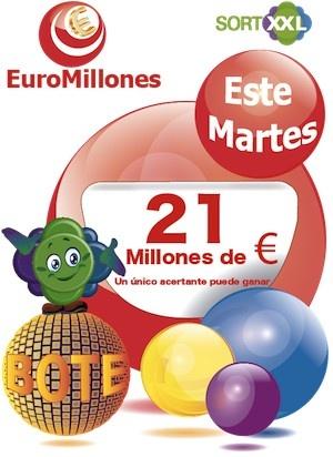 Comienza Junio con   El proximo Martes 21 millones de € en el sorteo del EUROMILLON…!!!  http://www.sortxxl.es