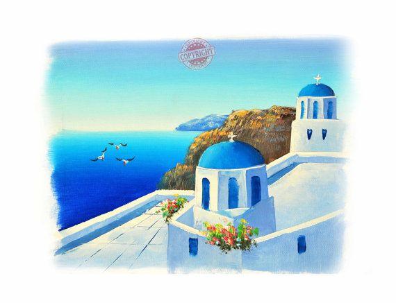 Santorini 10-Oil Painting,Original Oil Painting on Canvas,Landscape painting,Santorini Greece,Sunset painting,Summer Painting,Blue Canvas