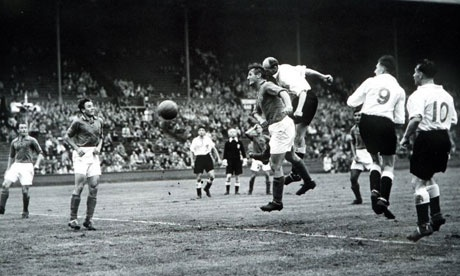 Great Britain's football team plays Yugoslavia at the 1948 Olympics.