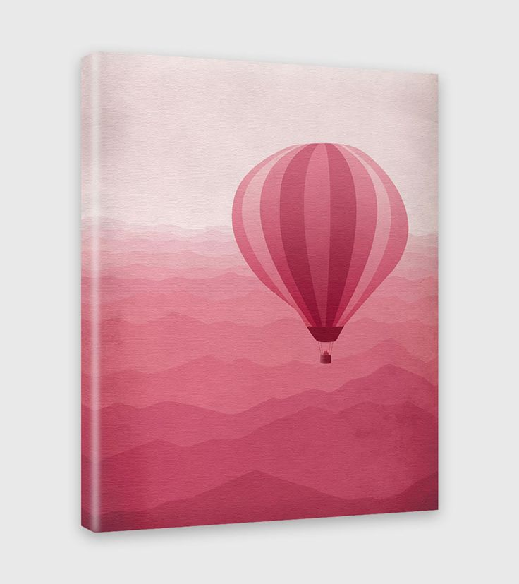"Whimsical pink nursery canvas art print of hot air balloon over mountains. Works well in both adult and kids spaces, teen rooms or as dorm decor. • 1.5"" deep gallery wrapped canvas • Printed on a thic"