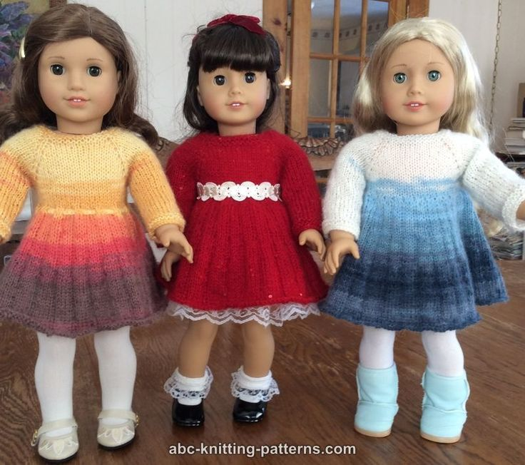 ABC Knitting Patterns - American Girl Doll Pleated Skirt Dress