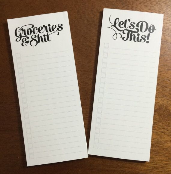 Notepad, Groceries & Sh*t, 50-page magnetic to do list