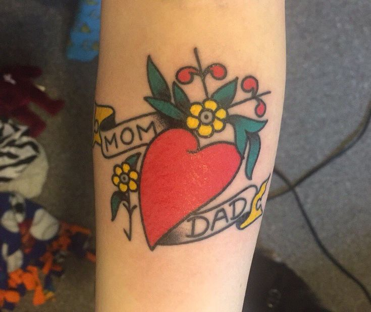 Traditional Sailor Jerry heart tattoo done by Kyle Skyer at Tiger Rose Tattoo in NE Minneapolis