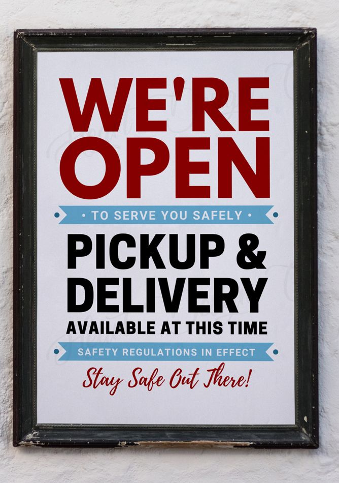 We Re Open Restaurant Sign Pickup Delivery Available Sign Printable Sign Digital Pdf Jpg Small Business Signs Open For Business Sign Restaurant Signs