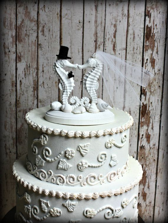 Seahorse Wedding Cake Topper-Kissing Seahorse Couple-Beach Themed Wedding Cake Topper-Destination Wedding on Etsy, $60.00