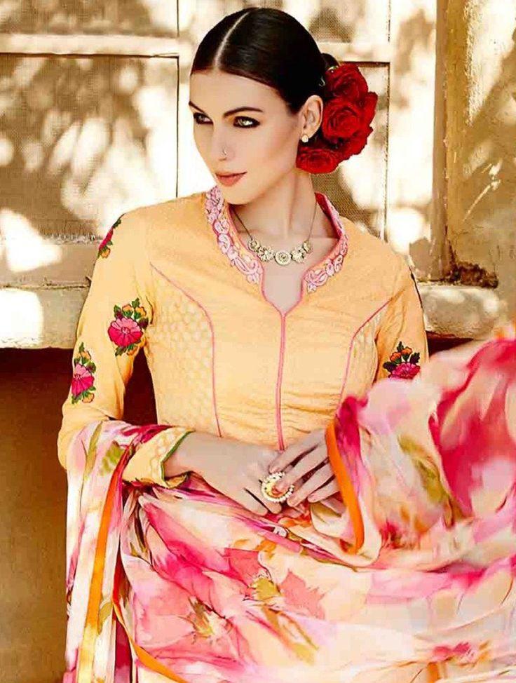Stunning Peach & Pink Embroidered Designer Salwar Kameez