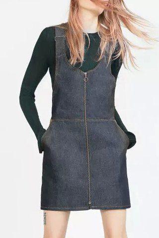 Stylish Sleeveless Spliced Zip Up Women's Denim Sundress