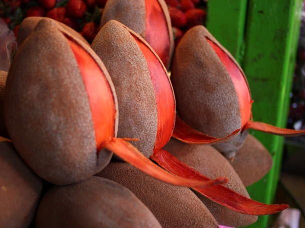 Mamey-South America fruit w/ useda creamy texture often times used to make ice cream and milkshakes