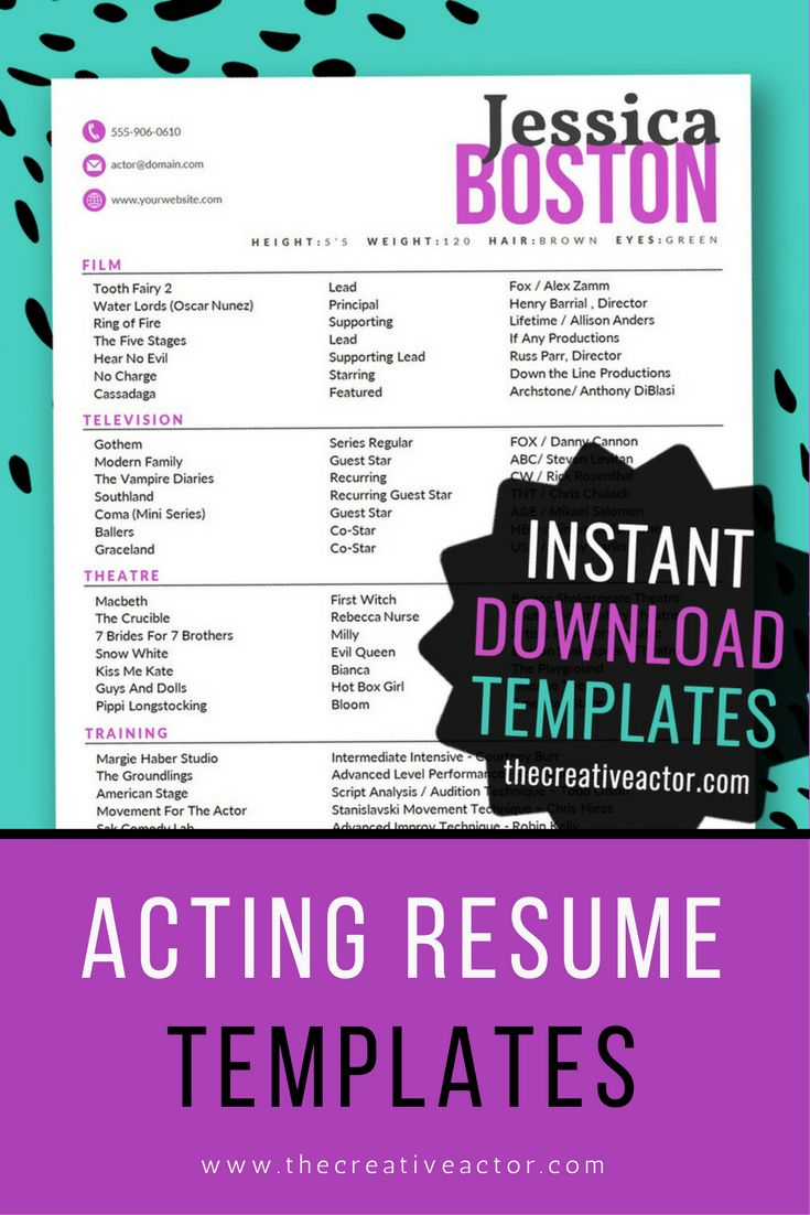 8x10 Actor Resume Templates   INSTANT DOWNLOAD Acting Resume Template! 8x10 Acting  Resume Format. Easy To Edit In Microsoft Word.  Acting Resume Format
