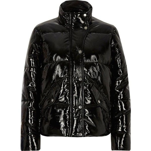River Island Black high shine puffer jacket ($150) ❤ liked on Polyvore featuring outerwear, jackets, black, coats / jackets, women, tall jackets, river island, funnel neck jacket, wet look jacket and padded puffer jacket