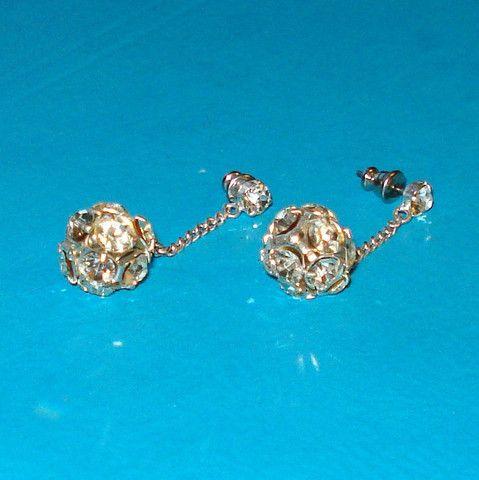 Rhinestone Globe Dangle Earrings - Mookie Designs Vintage