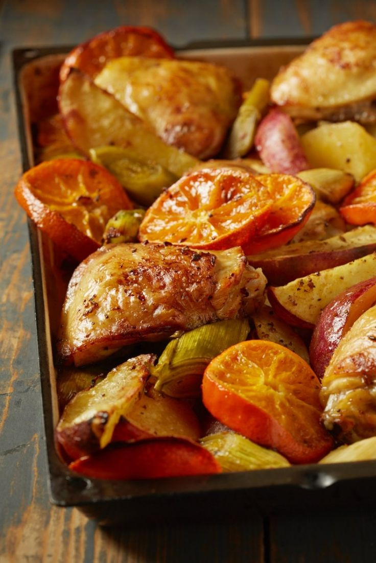 Roasted chicken with ClemenGold, spices and sweet potatoes