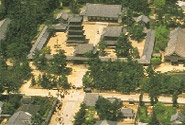 """JAPAN. NARA PREFECTURE. Buddhist Monuments in the Horyu-ji Area, some """"from the 7th or early 8th century, making them some of the oldest surviving wooden buildings in the world."""""""
