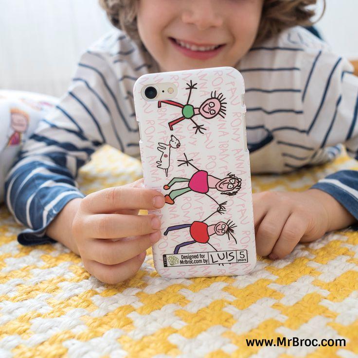 Broc Carcasa de móvil personalizada para el Día del Padre con los dibujos de los niños. Regalos bonitos y con sentimiento para papá y el abuelo hechos con Broc Studio.