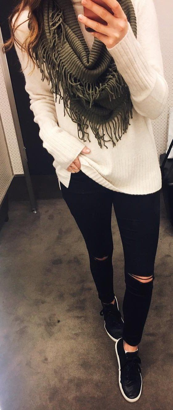 #winter #fashion /  White Knit + Green Fringe Scarf + Ripped Skinny Jeans