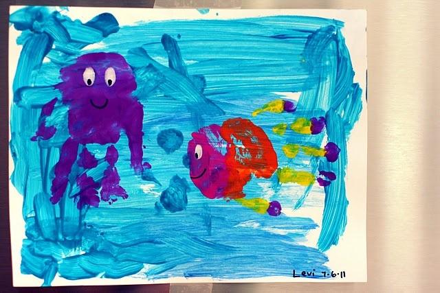 hand print fish and octopus - kid craft